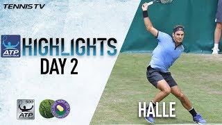 highlights federer nishikori zverev move to second round in halle