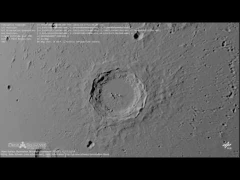 Copernicus crater on the Moon during sundown (Moon's surface in 3D) [HD, 720p]