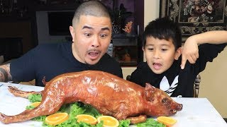WHOLE ROAST PIG MUKBANG!