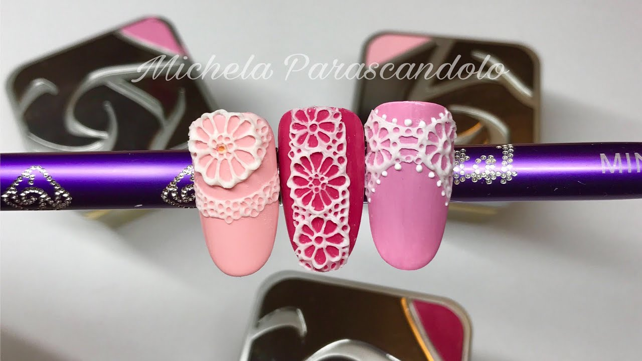 Lace gel Crystal Nails - Effetto pizzo - YouTube