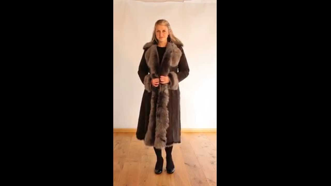 Finest Women's Toscana Sheepskin Coat in Grey - Lexia - YouTube