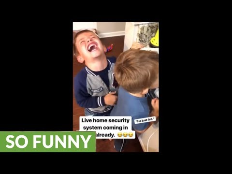 Kid denies pushing little brother, gets caught red-handed on camera