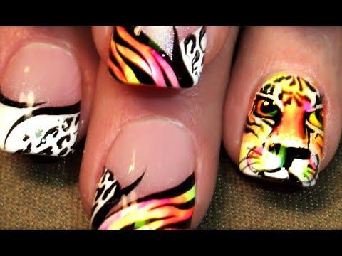 Tiger Nail Art | DIY Neon Hot Animal Print Summer Nails Design Tutorial - Tiger Nail Art DIY Neon Hot Animal Print Summer Nails Design