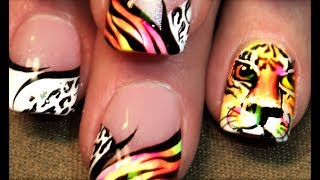 HOT NAILS! Neon Tiger Nail Art - Life of Pi DIY Nails Tutorial