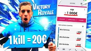 1 KILL = 20€ POUR MON FRÈRE SUR FORTNITE ! MA CARTE BLEU A CHAUFFER