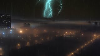 🎧 Thunder and Rain in Foggy City | Thunderstorm Sounds for Sleeping, Ambient Noise, @Ultizzz day#73