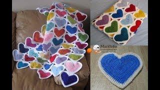 How to crochet heart afghan blanket free easy pattern tutorial for beginner
