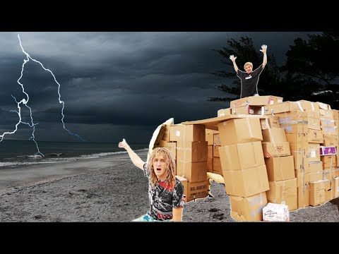 24 HOUR CARDBOAD BOX FORT DURING A THUNDERSTORM !!! (Cops Came) JSC #17  |JoogSquad PPJT