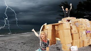 24 HOUR CARDBOARD BOX FORT DURING A THUNDERSTORM !!! (Cops Came) JSC #17  | JOOGSQUAD PPJT