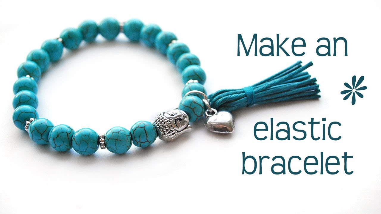 Making a stretchy bracelet with beads