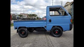 Blue Honda Acty walk around, and test drive HA4