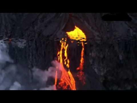 Hawaiian Volcano # Seven Mile Long Lava Flow # Pacific Ocean
