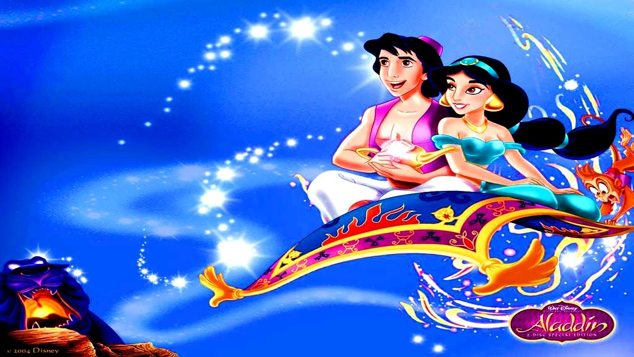 Disney Cartoon Aladdin - Jasmine And Aladdin On Magic ...