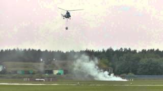 Piknik Lotniczy Świdwin 2014 - pokaz gaszenia pożaru przez PZL M18 Dromader oraz Mi-2