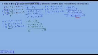 Sistemas de ecuaciones por el método de Gauss con parámetros