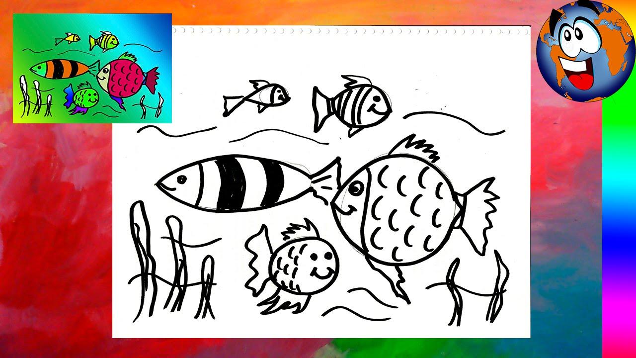 Peces En El Mar Dibujo Fácil Para Niños Fish In The Sea Drawing