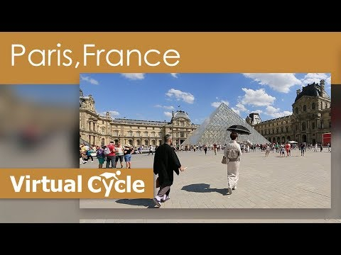 Virtual Cycle Ride In Paris Along the River Seine and Louvre and Eiffel Tower