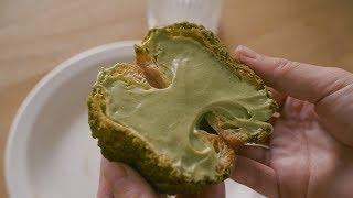 녹차크림 듬뿍! 녹차 쿠키슈 : Green tea cream puff (cookie choux)  Honeykki 꿀키