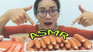 ไส้กรอกหนังกรอบ ปูอัสบาซาบิ l ASMR Eating |เสียงกิน l น้องใยไหม kids snook
