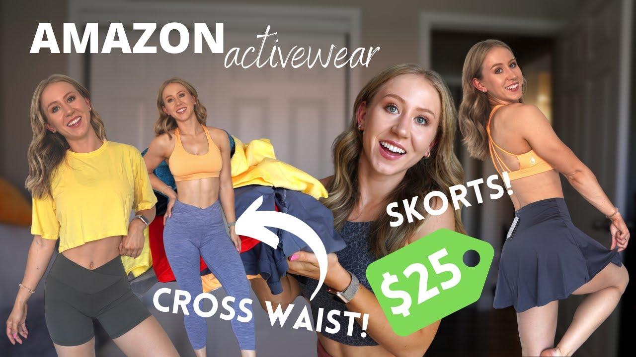 HUGE Amazon Activewear Haul Under $30! | Cross waist leggings, skorts, and more