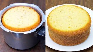 Sponge Cake in Pressure Cooker | Basic Sponge Cake Recipe | Vanilla Sponge Cake Without Oven