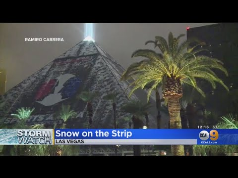 Las Vegas Gets Snow On The Strip, Dozens Of Flights Canceled At McCarren Airport