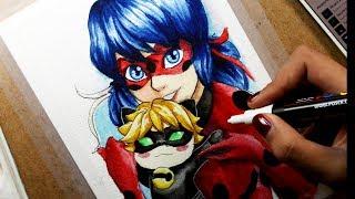 Speed Drawing: Ladybug & Chibi Cat Noir   Watercolor/Acuarela   Diana Díaz