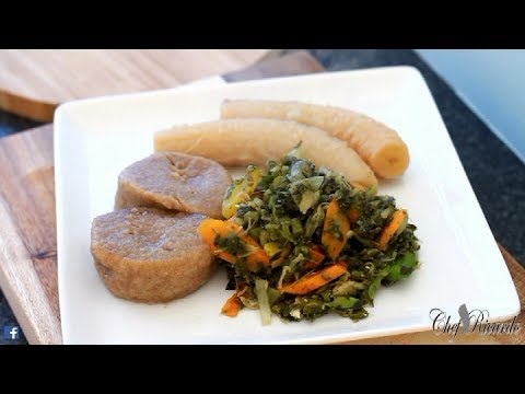 Salt Fish & Steam Callaloo With Dumpling Green Banana Avocado | Recipes By Chef Ricardo