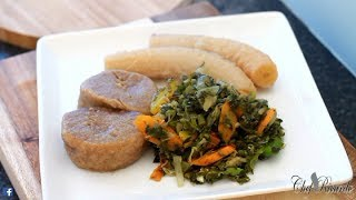 Salt fish & Steam callaloo with dumpling green banana avocado !! (JAMAICAN DISH )