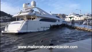 MallorcaTv Comunicación - Destrozo de un yate en Puerto Andratx . Marzo 2017