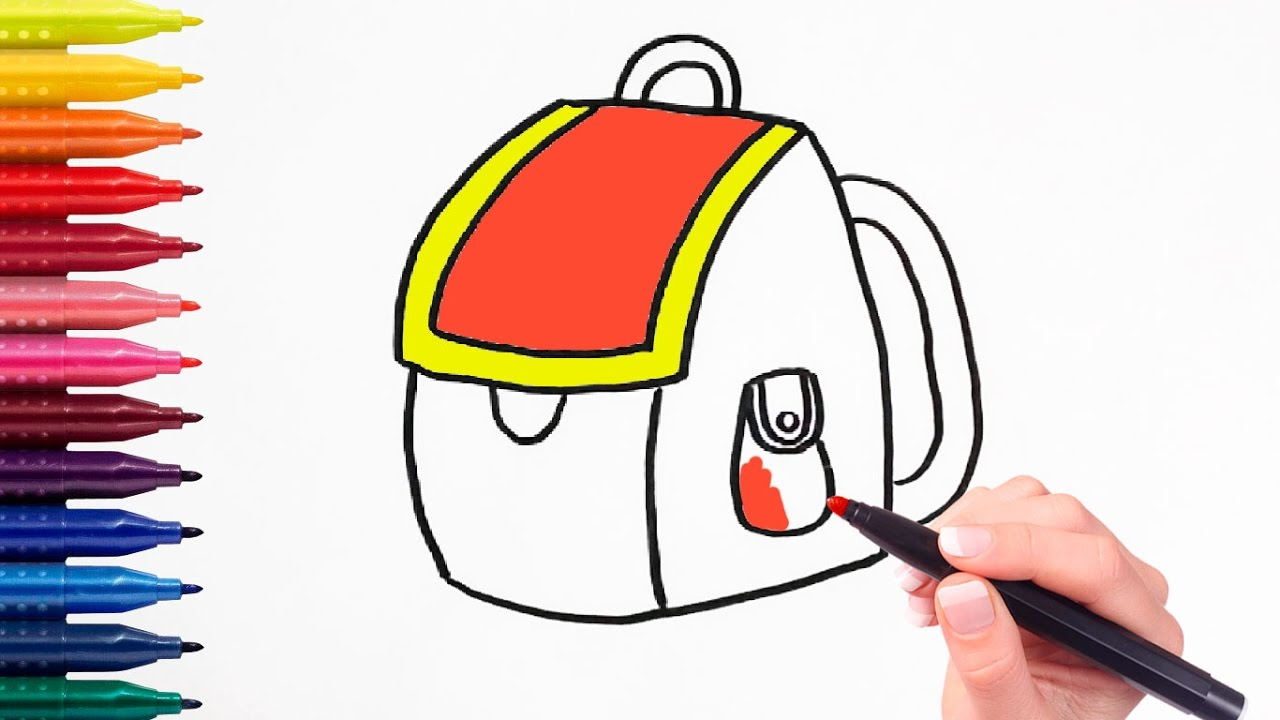 How To Draw School Backpack Coloring Pages For Kids Learning - school backpack coloring page