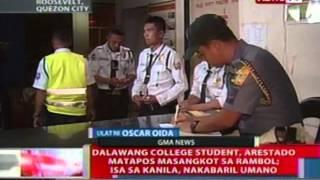 NTL: 2 college student, arestado matapos masangkot sa rambol; isa sa kanila, nakabaril umano