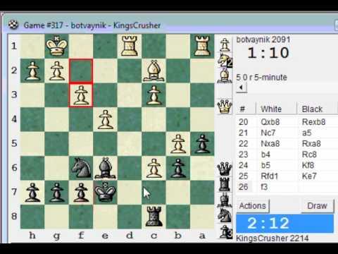 Sicilian Defence: LIVE Blitz (Speed) Chess #609 vs botvaynik (2091) (Chessworld.net)