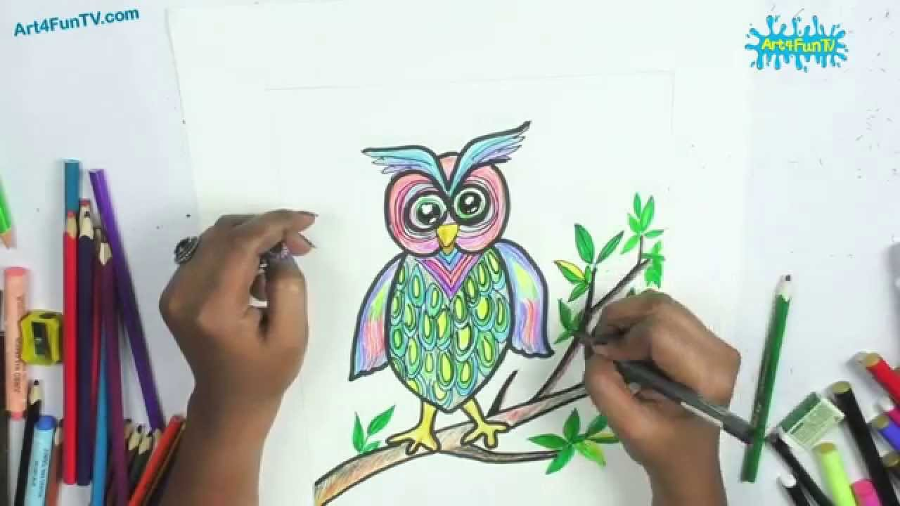 how to draw a cartoon owl step by step for beginners easy