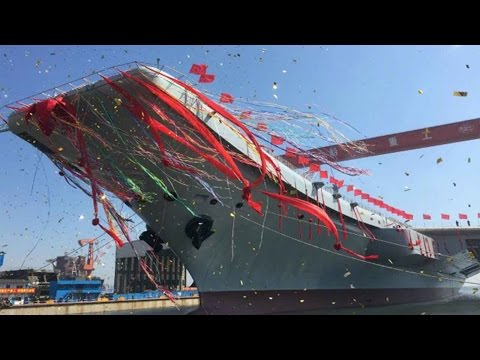 China's first home-built aircraft carrier Type 001A hits the water