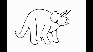 How to draw simple cute dinosaur for kids step by step
