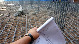 Raft foundation construction according to drawing plan