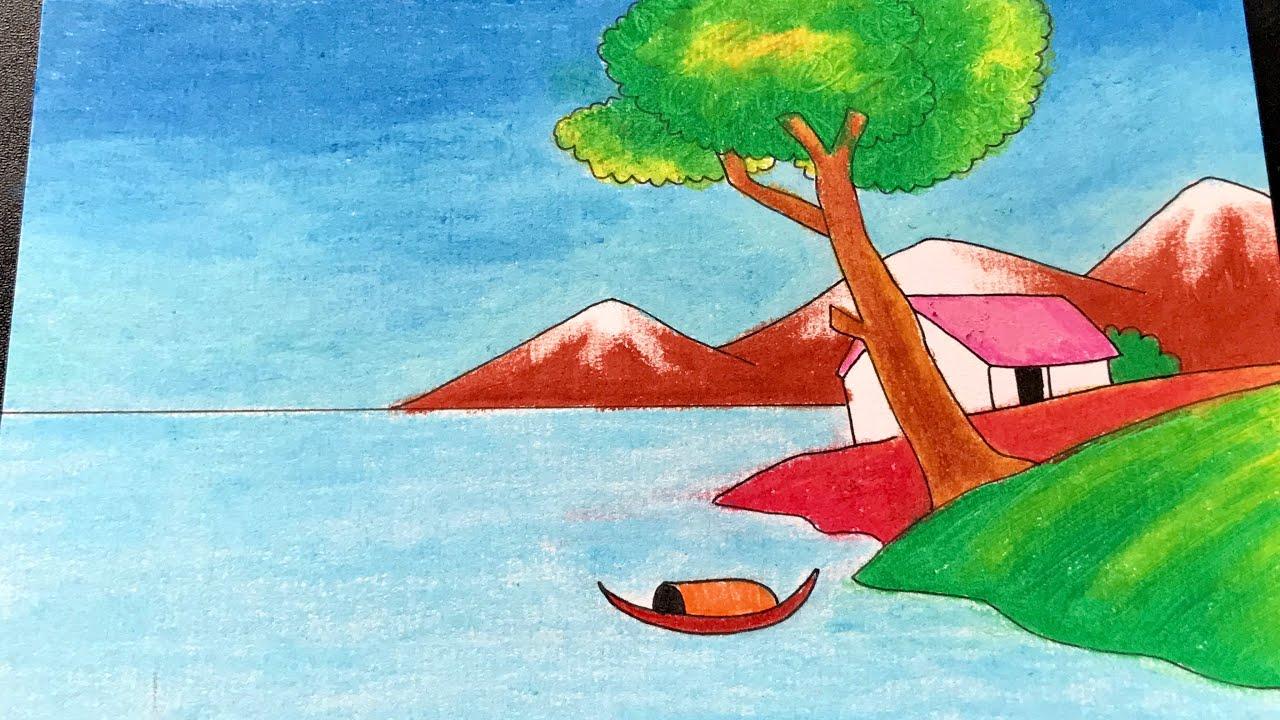 Hướng dẫn vẽ tranh phong cảnh đơn giản mà đẹp  | How to draw simple scenery