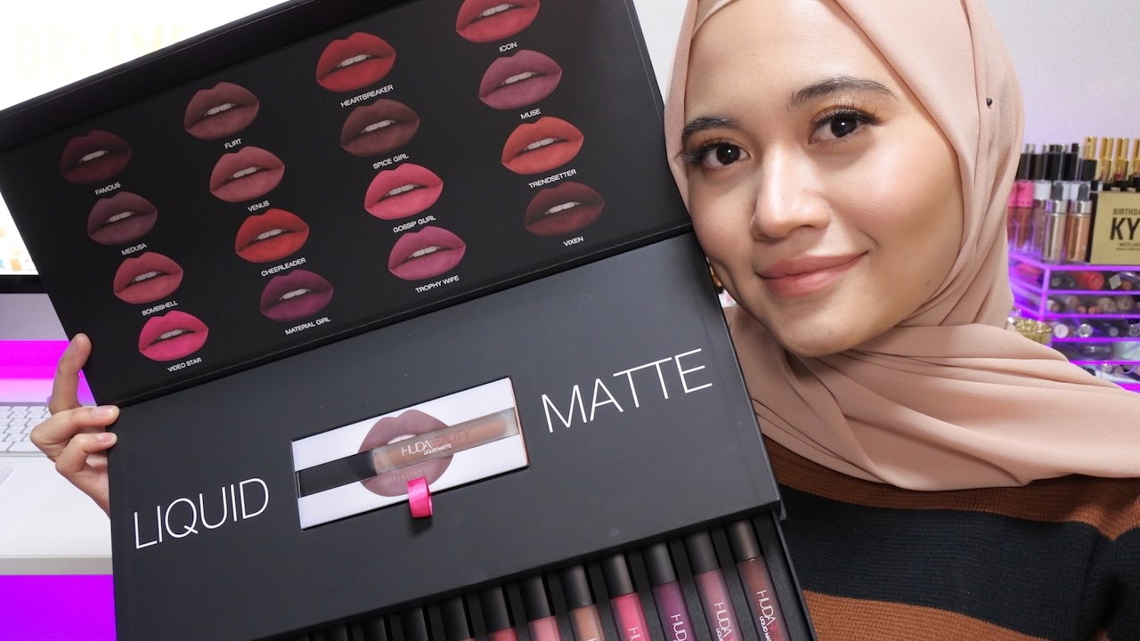 Huda Beauty Liquid Matte Lipstick Full Collection Swatches 16
