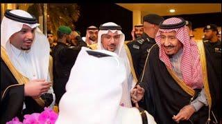 لحظة وصول الملك سلمان لـ القصيم برفقة الامير محمد بن سلمان