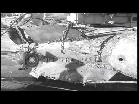 The conning tower and the propellers of a recovered Japanese midget submarine off...HD Stock Footage