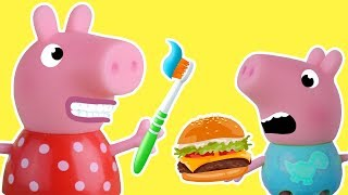 George and Piggy getting ready for school - Cartoons for kids