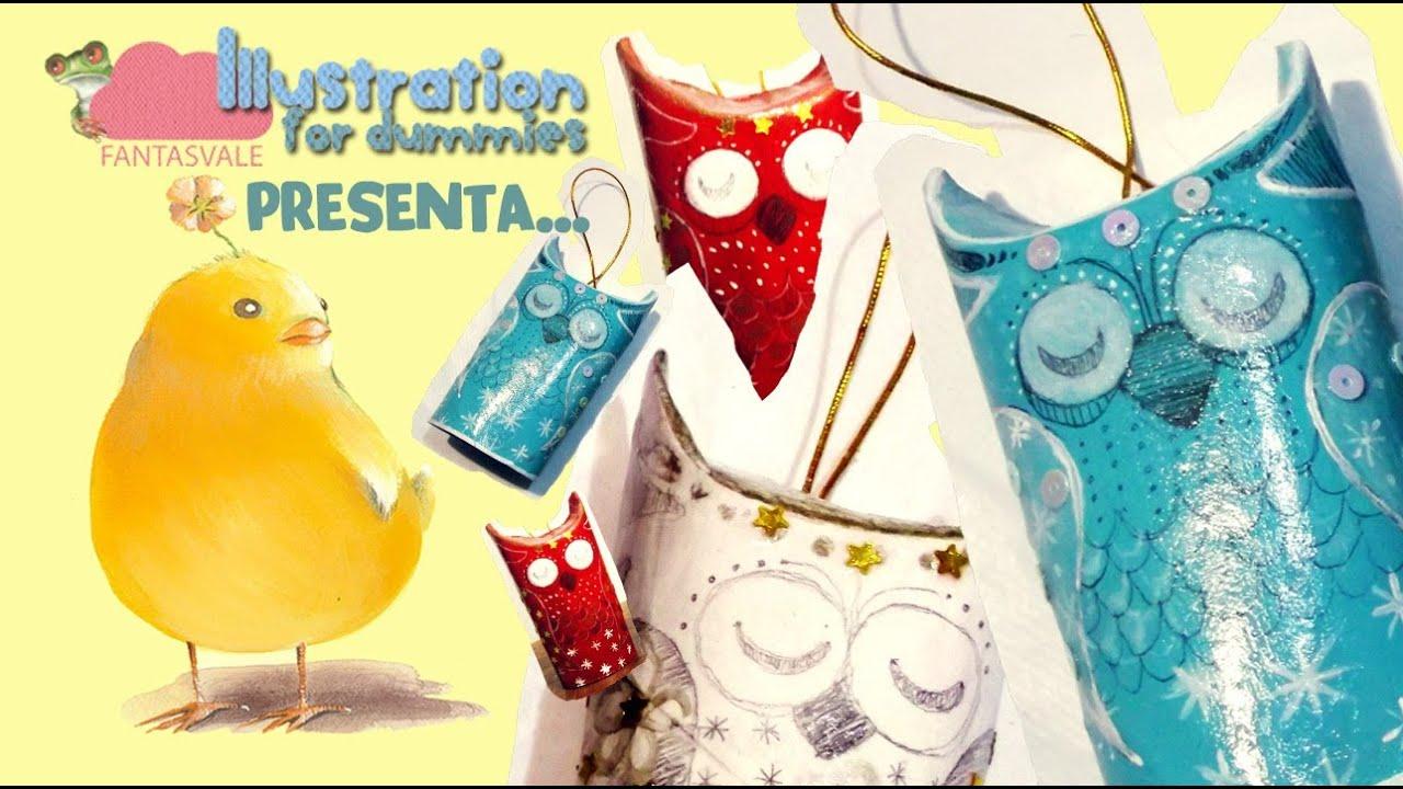 Rotoli Di Carta Igienica Lavoretti Natale : Tutorial riciclo creativo di natale i gufetti dormiglioni con