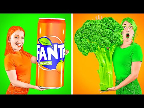 ORANGE VS GREEN FOOD CHALLENGE! Eating and Buying Only 1 Color Food For 24 Hours by 123 GO!CHALLENGE