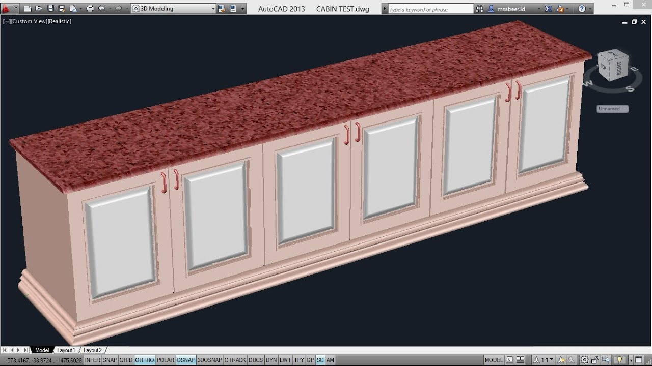 Creating A Counter Top Autocad 3d Cabinets Autocad 3d