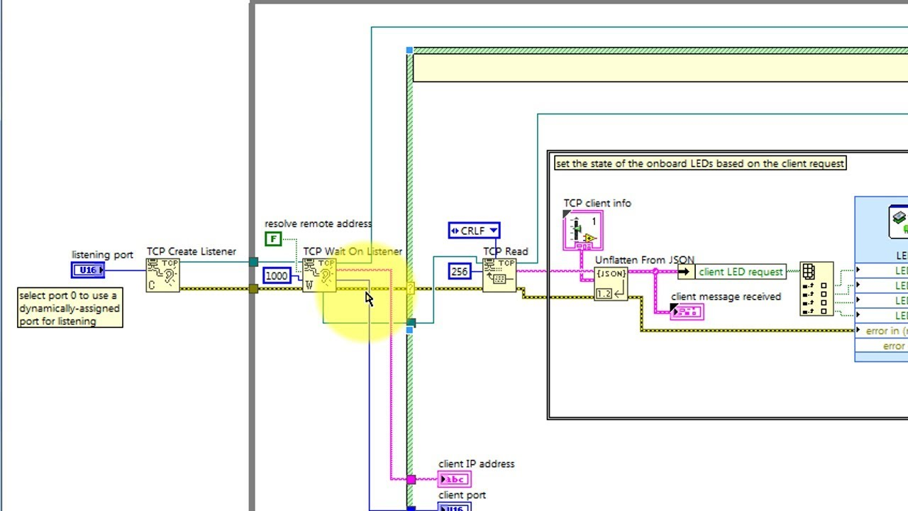 LabVIEW code: TCP client-server (walk-through)