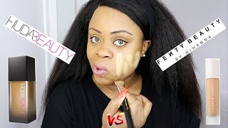 Huda Beauty Foundation VS Fenty Beauty Foundation + Wear Test + Review | Edee Beau