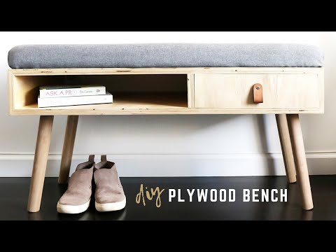 DIY Plywood Bench with Storage | How To Make A Cushion