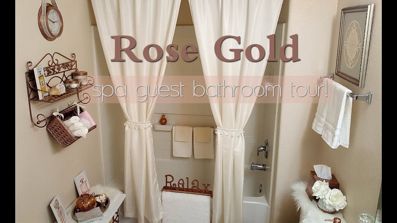 Rose gold spa bathroom tour small guest bathroom tour diy amp goodwill spa bathroom
