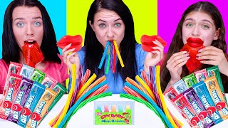 ASMR Chewing Candy Party (Gummy Twizzlers, Chewy Lips, Sour Wax Drinks) Eating Sound LiLiBu